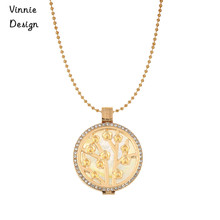 Vinnie Design Pendant Set include 2pcs 1.2mm Thiockness Coin,1pcs Crystal Coin Holder,80cm Stainless Steel Ball Chain Necklaces(China)