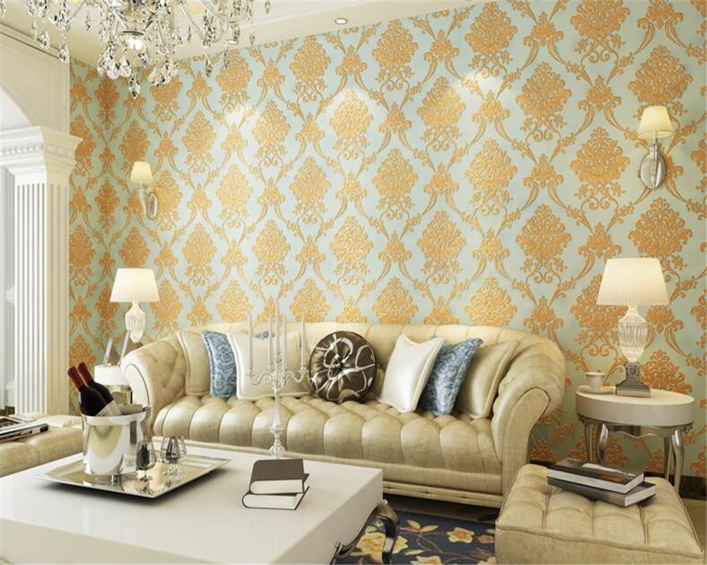 beibehang Embossed wallpaper nonwoven embossed living room background wall paper stereoscopic flower papel de parede wallpaper<br>