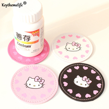 Keythemelife 2PCS Hello kitty Placemat Cup Mat Bar Mug Drink Pads Coaster Kitchen Table Decoration 2C(China)