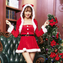 New Arrival Wholesale Long Sleeve Christmas Costume Women Short A Line Dress And Cloak Set 2017 Female Sexy Costumes Carnival