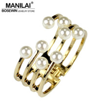 Fashion Cuff Bracelets For Women 2016 Charm Accessories Imitation Pearl Bangles & Bracelets Manchette Statement Jewelry BL245