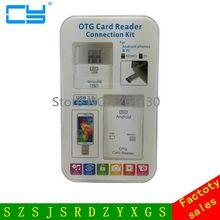 Crystal box 2015 NEW Universal 2 1 Card Reader Mobile Phone PC Card Reader Micro USB OTG Card Reader Micro USB OTG Adapter