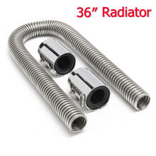 "Stainless Steel 36"" General Car Radiator Coolant Water Hose Kit With Caps Radiator Cover(China)"