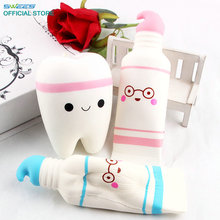 Jumbo Squishy Slow Rising Kawaii 17cm Toothpaste Soft Squeeze Cute Cell Phone Strap Pendant Soft Bread Cake Stretchy Toy Gift