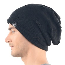 Mens Slouchy Beanie Cap Unisex Hat Solid Skullcap Knitted Summer Hat FORBUSITE(China)