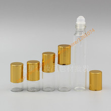 1ml/2ml/3ml/5ml/10ml clear Glass Bottle(long neck) With glass roller+gold aluminum lid,roll-on/perfume/deodorant bottle