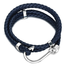 HIP Double Layer Blue Genuine Leather Men Charm Bracelet Black White Stainless Steel Fish Hooks Bracelets & Bangles Jewelry(China)