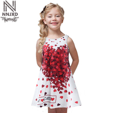 New Casual Summer Dress for Girl Children Kids Age 2-7 Years Old Girl with Print Red Heart Sleeveless Dress