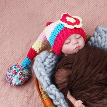 Handmade Knitted Rainbow Flower Baby Beanies Girls Long Tail Pixie Hat Newborn Photography Props 0 -3M