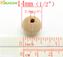 "8SEASONS 100PCs Natural Ball Wood Spacer Beads 14x13mm(1/2""x1/2"") (B18802)"