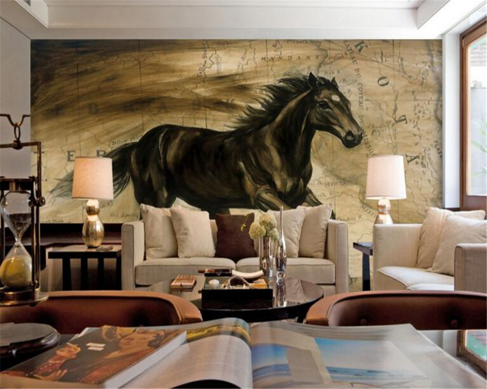 papel de parede Modern Animal Oil Painting Black Horse Broncos Background Wall Paintings Custom 3D wallpaper  for walls 3 d <br><br>Aliexpress