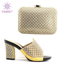 Clearluv gold Wedding Or Party Shoes And Bag Set Fashion Woman's Shoes and Bag Set Nigeria Italian Shoes And Bag To Match(China)