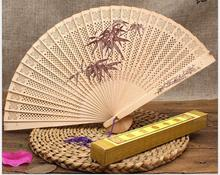 10pcs sandalwood Fan  incense Hollow wood fan Chinese style classic fan free gift box birthday party gifts wedding decor