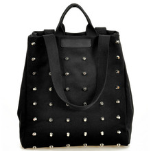 Fashion Unique Punk Rivet Canvas Women Top-Handle Bags Girl Handbags Tote Bags Ladies Shoulder Bag Black Shopper Bag Bolsas(China)