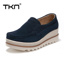 TKN 2017 Autumn women flat shoes thick soled platform shoes leather suede casual shoes slip on flats creepers 3088(China)