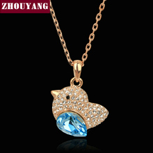 ZHOUYANG Top Quality ZYN054 Blue Fat Bird Necklace Rose Gold Color Fashion Jewellery Nickel Free Pendant Crystal(China)