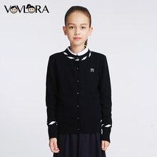 Girls Knitted Sweaters Kids Cotton Long sleeve O-neck Bow School uniform clothes Autumn&winter baby girls sweaters 8-15Years(China)
