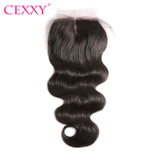 CEXXY Silk Base Closure Brazilian Body Wave Middle Part 4''x 4'' Natural Color 100% Human Hair Remy Hair Free Shipping