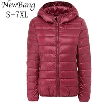 Large Size 7XL Women's Overcoat Female Ultra Light Duck Down Jacket Plus Size Autumn Winter Hooded Down Coat