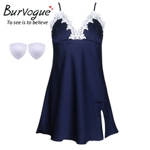 Burvogue Women Sexy Nightdress Silk Babydoll Summer Spaghetti Nightgown Chemises Lace Satin Sleepwear with Padded Bra Nighties(China)