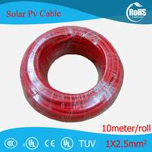 High Quality 10m/roll 2.5mm2(14 AWG) Solar Cable PV Cabel wire red and black Copper conductor XLPE jacket With TUV UL Approval