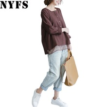 NYFS 2017 New Style Autumn Women Blouses Single Breasted Stripe Cotton Shirt Casual Women Loose Blouse(China)