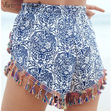 VARBOO_ELSA summer Boho Shorts 2017 lady casual loose Short Pants blue mini Cotton Crochet tassel Print flower sexy hot Shorts(China)