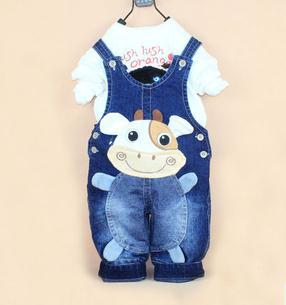 Hot cow baby jeans boys girls denim casual pants kids jumpersuit baby overalls Free shipping<br><br>Aliexpress