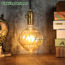 Edison bulb LED vintage lamp bulb pumpkin glass 220V 4W E27 B22 energy saving table lamp bulb amber retro saving pendant lamp