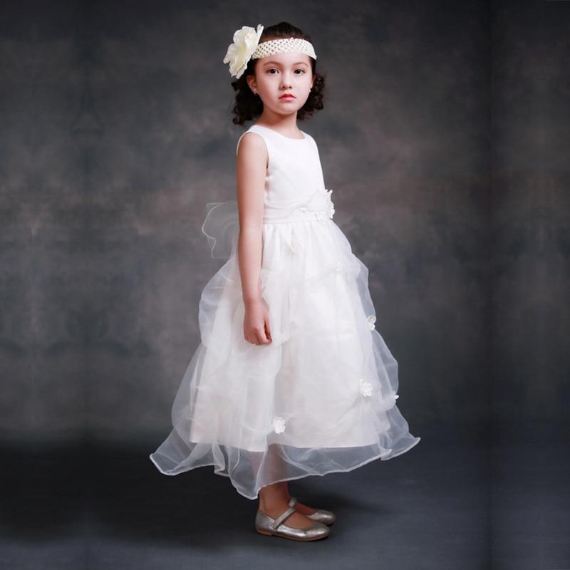 Ellies Bridal Fancy Sleeveless Lace White Flower Wedding Dress Clothing Girl Communion Dresses Ball Gown Children White Dress<br>