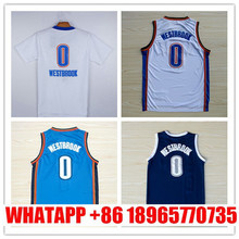 Russell Westbrook Jersey,Oklahoma 0 Russell Westbrook White Short Sleeves Blue Dark Blue Rev 30 good jersey ,Size:S-XXL