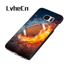 LvheCn fire and ice American football ball phone case cover for Samsung Galaxy S3 S4 S5 S6 S7 S8 edge plus Note 2 3 4 5 8(China)