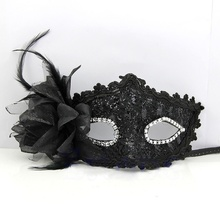 1 pcs Fashion Style Sexy Venetian Lace Feather Ball Masquerade Mask Paillette Flower Party Eye Masks masque venitien
