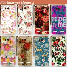 For Huawei Honor 2 U9508 Case Cover Beautiful Flowers Painted COOL Animal Design Protect Skin Back case cover For HUAWEI Honor 2(China)