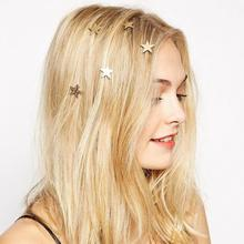 Europe And The United States 2017 New Fashion Hair Ornaments Five-pointed Star Spring Clip. Free Shipping For Ladies Hair Gift(China)
