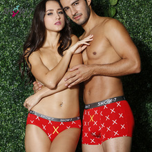 Fashion print Lover underwear brand couple underwear cotton underpants sexy red women seamless panties men boxer cueca masculine
