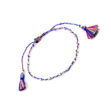 Thin Cotton Bracelet Korean Style Acrylic Beads Friendship Bracelets with Fringing(China)