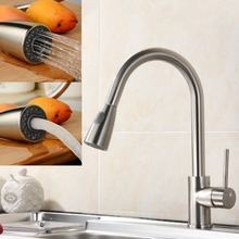 Brush Nickel 350 MM Pipe Pull Out Kitchen Faucet.360 Degree Swivel Pull Out Kitchen Tap.Kitchen Sink Mixer Tap Torneira Cozinha