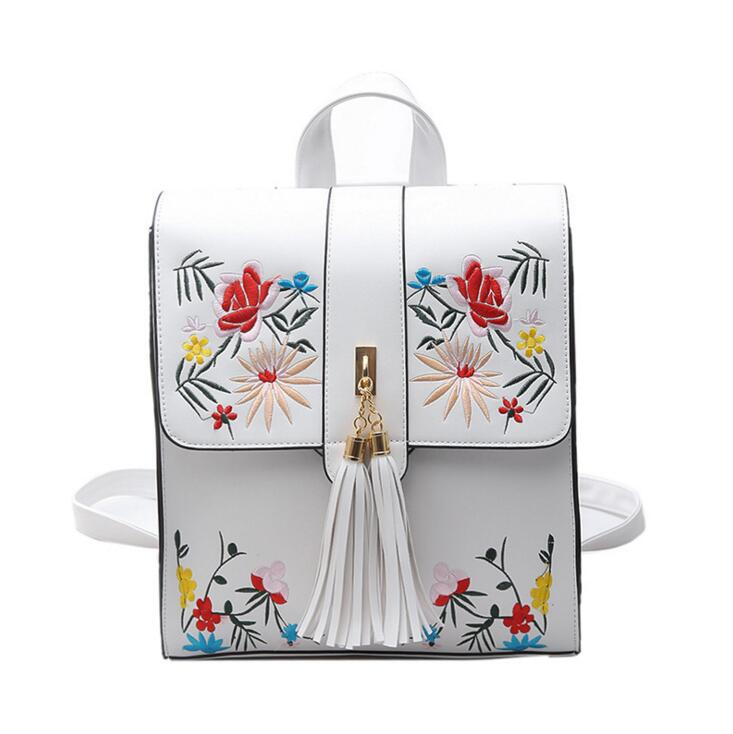 Backpack female fashion embroidery multifunctional schoolbag travel new tassel backpack hand-embroidered backpack <br>