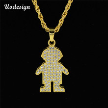 Uodesign Iced Out Bling Full Rhinestone Cute boy Pendants Necklaces Gold Color Sports Necklace for Men Jewelry(China)
