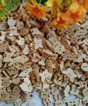 100pcs Mixed Natural Wood beads Button bulk Sewing clothing Cartoon Buttons children/decoration/Craft/Scrapbooking Accessories(China)