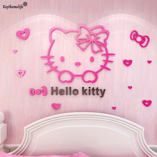 Keythemelife Cartoon Hello Kitty DIY Wall Stickers for Kids Rooms Bedrooms Acrylic Lovely Decals Sticker Home Decoration 7D(China)