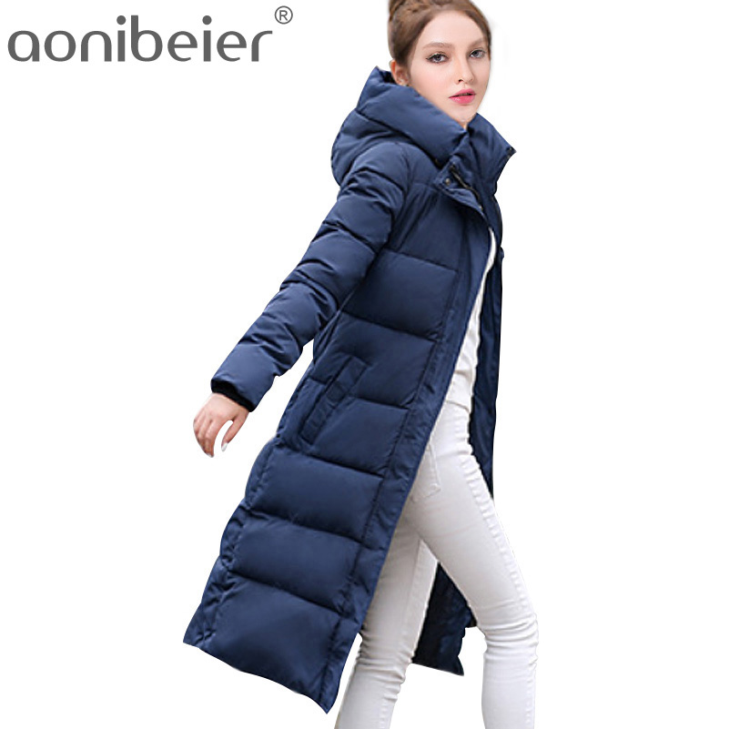 Aonibeier Winter Coat Women X-Long Parkas 2017 Warm Hooded Slim Cotton Padded Jacket Many Patterns Female Fashion Outwear CoatÎäåæäà è àêñåññóàðû<br><br>