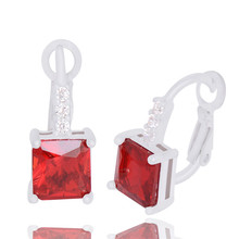 H:HYDE Nice Shipping 1pair silver Color Fashion Charming Square Cubic Zirconia Hoop earrings 6 colors Picks