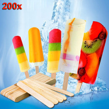 200pcs Wooden Ice Cream Sticks Treat Sticks Freezer Pop Sticks Wooden Sticks for Ice Cream Bars 65/93/114/140/150mm Hoga(China)