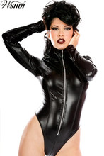 Sexy Black PU Leather Bodysuit PVC Latex Catsuit Catwomen Tight Bodysuit Long Sleeve Zipper Jumpsuits(China)