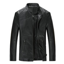 Drop shipping 새 가 men leather jacket 및 coat fashion stand collar solid pu outwear AXP195(China)