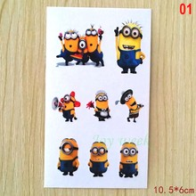 Waterproof Temporary Tattoo Sticker Minions cartoon tatto stickers flash tatoo fake tattoos for kids child