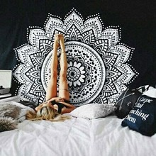 Bohemia black and white cloth tapestry,multi-function tapestry 146*146cm, Mandala table cloth, wall cloth, wearable blanket(China)