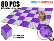 New 8 Packs Purple and White Anti Slip Indoor/Outdoor Plastic Flooring Mat Tiles Foot Prints Pattern 25 x 25 cm KK1128